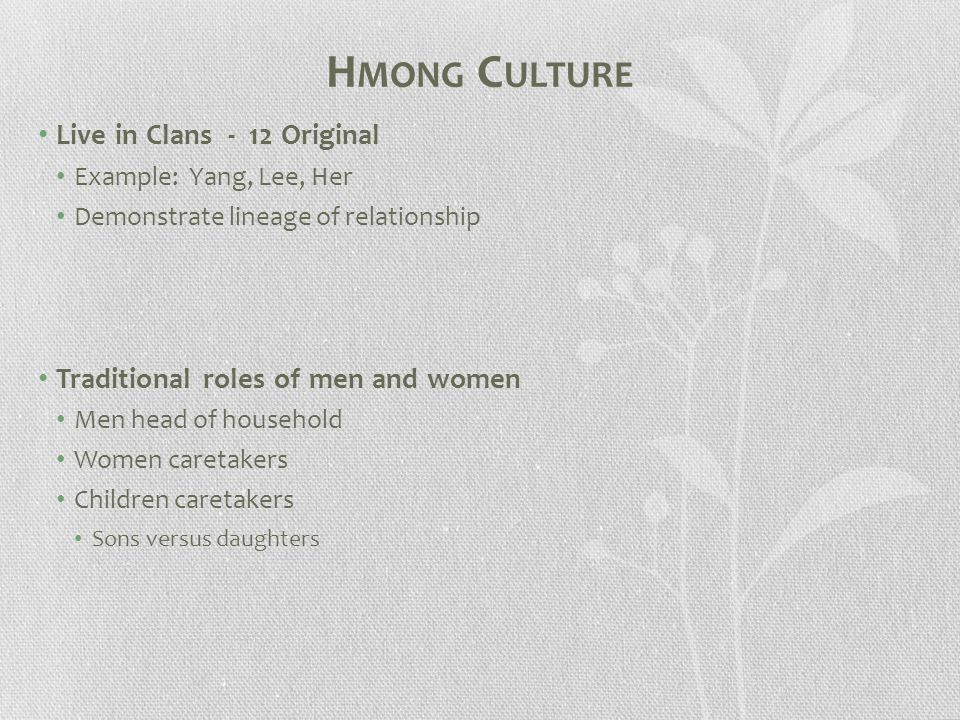 H MONG C ULTURE Live in Clans - 12 Original Example: Yang, Lee, Her Demonstrate lineage of relationship Traditional roles of men and women Men head of household Women caretakers Children caretakers Sons versus daughters