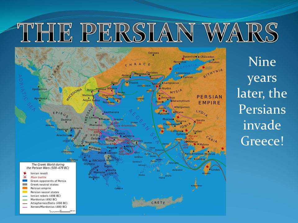 Nine years later, the Persians invade Greece!