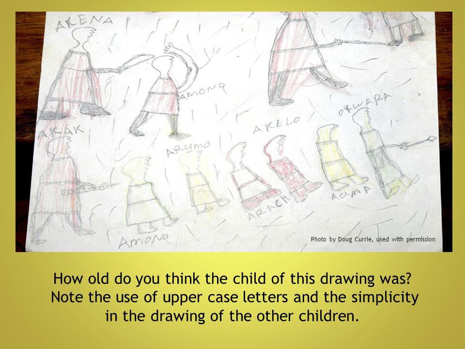 How old do you think the child of this drawing was? Note the use of upper case letters and the simplicity in the drawing of the other children. Photo