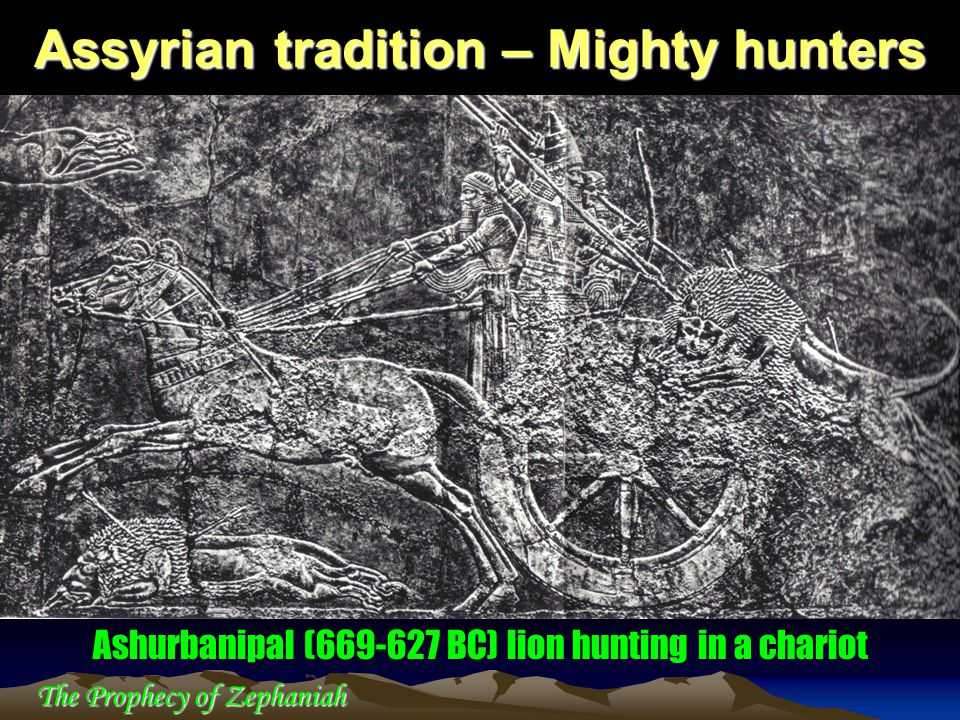 Assyrian tradition – Mighty hunters Ashurbanipal (669-627 BC) lion hunting in a chariot