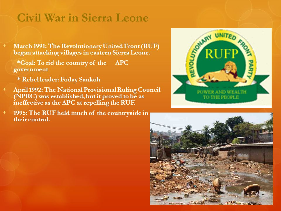 Civil War in Sierra Leone  1996-2000: Sierra Leone tries various campaigns to stop the RUF, including signing a peace deal in 1996 that unraveled in 1997.