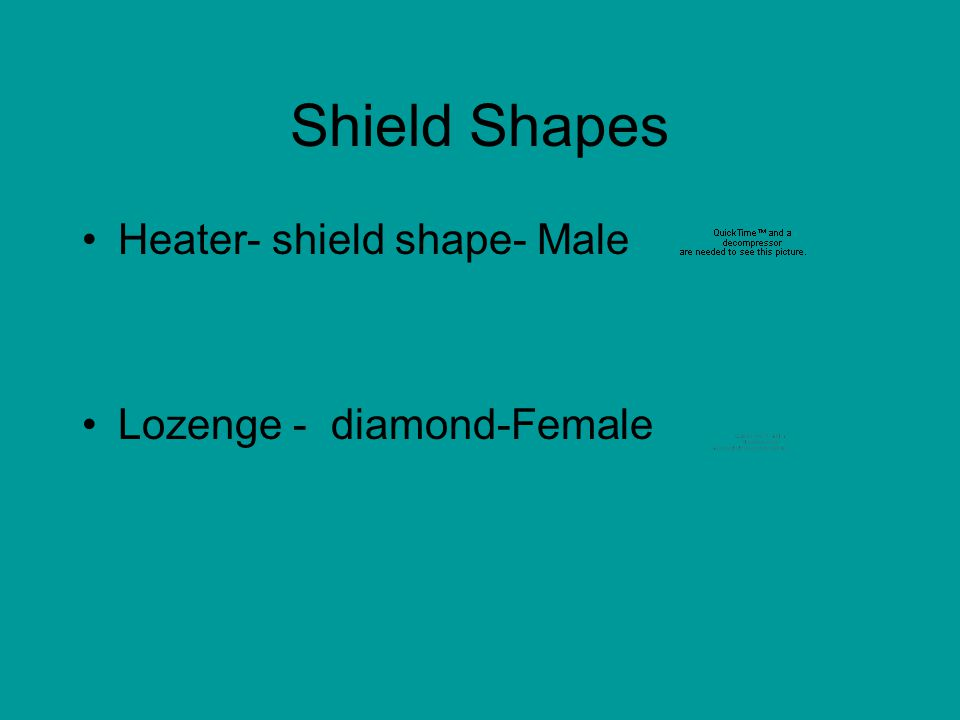 Shield Shapes Heater- shield shape- Male Lozenge - diamond-Female