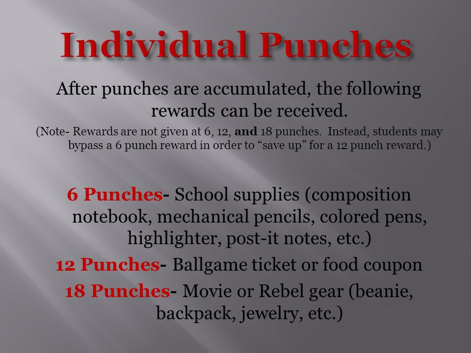 After punches are accumulated, the following rewards can be received.