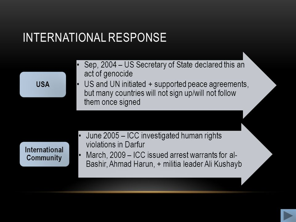 INTERNATIONAL RESPONSE Sep, 2004 – US Secretary of State declared this an act of genocide US and UN initiated + supported peace agreements, but many countries will not sign up/will not follow them once signed USA June 2005 – ICC investigated human rights violations in Darfur March, 2009 – ICC issued arrest warrants for al- Bashir, Ahmad Harun, + militia leader Ali Kushayb International Community