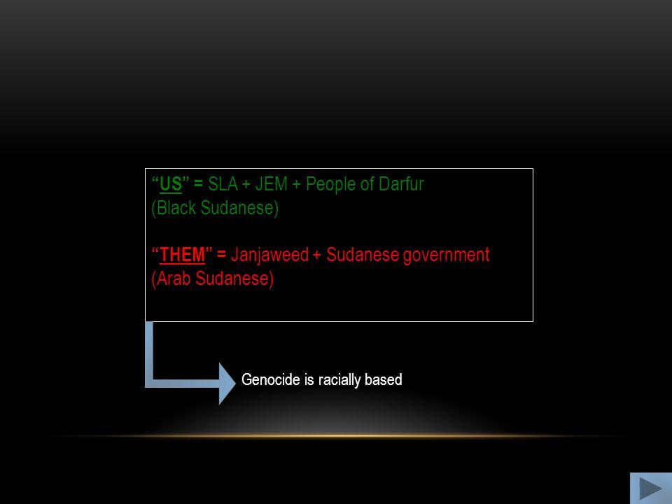 """US"" = SLA + JEM + People of Darfur (Black Sudanese) ""THEM"" = Janjaweed + Sudanese government (Arab Sudanese) Genocide is racially based"
