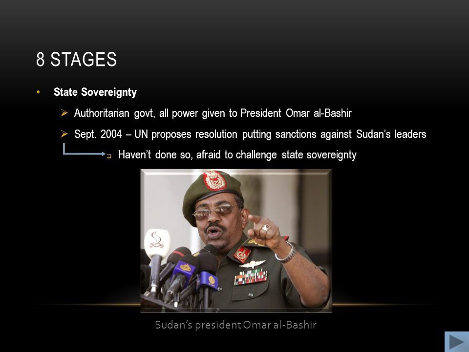 8 STAGES State Sovereignty  Authoritarian govt, all power given to President Omar al-Bashir  Sept.