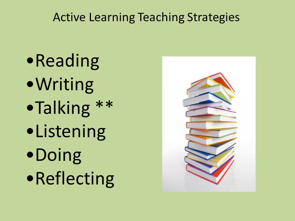 Active Learning Teaching Strategies Reading Writing Talking ** Listening Doing Reflecting