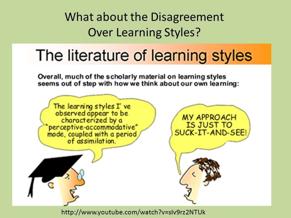 What about the Disagreement Over Learning Styles? Learning Styles