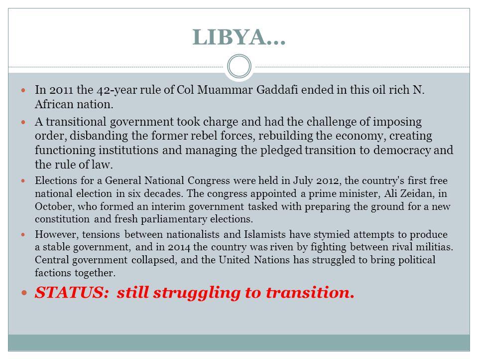 LIBYA… In 2011 the 42-year rule of Col Muammar Gaddafi ended in this oil rich N.