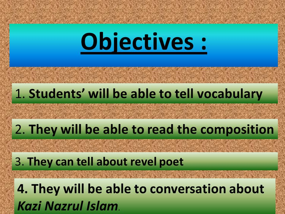 Objectives : 1. Students' will be able to tell vocabulary 2.