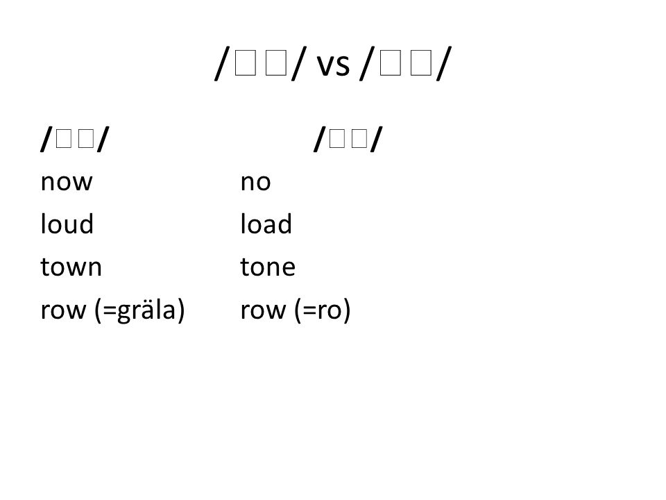 /  / vs /  / /  / /  / now no loud load town tone row (=gräla)row (=ro)