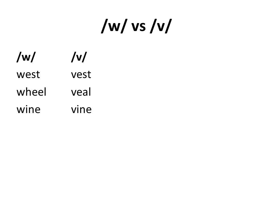 /w/ vs /v/ /w//v/ westvest wheelveal winevine