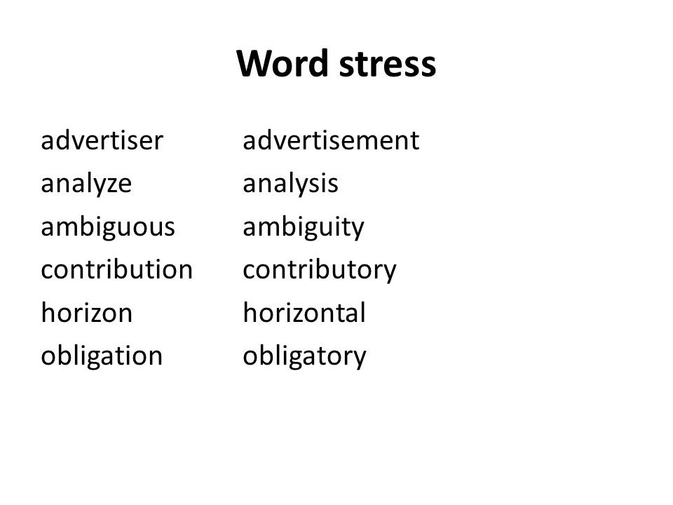 Word stress advertiseradvertisement analyzeanalysis ambiguousambiguity contributioncontributory horizonhorizontal obligationobligatory