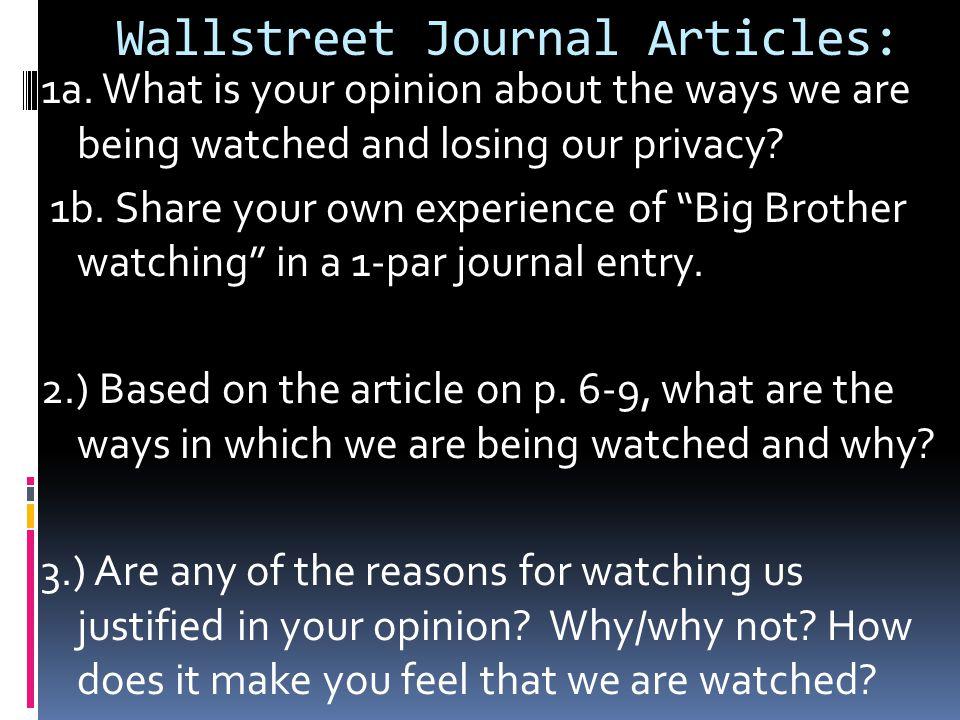 Wallstreet Journal Articles: 1a.