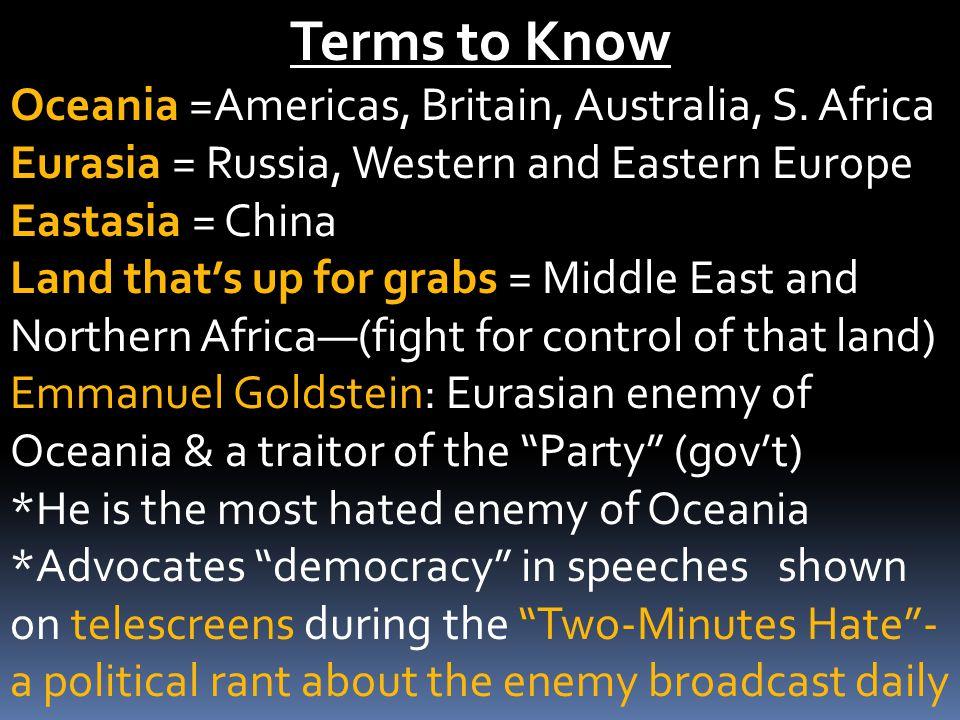 Terms to Know Oceania =Americas, Britain, Australia, S.