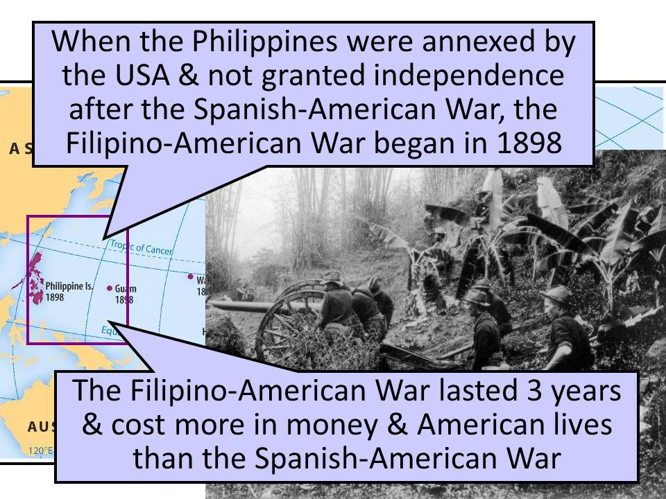 U.S. Imperialism: PHILIPPINES When the Philippines were annexed by the USA & not granted independence after the Spanish-American War, the Filipino-Ame