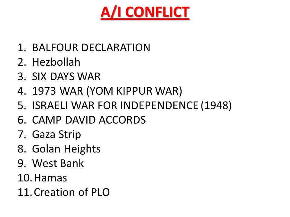 A/I CONFLICT 1. BALFOUR DECLARATION 2. Hezbollah 3. SIX DAYS WAR 4. 1973 WAR (YOM KIPPUR WAR) 5. ISRAELI WAR FOR INDEPENDENCE (1948) 6. CAMP DAVID ACC