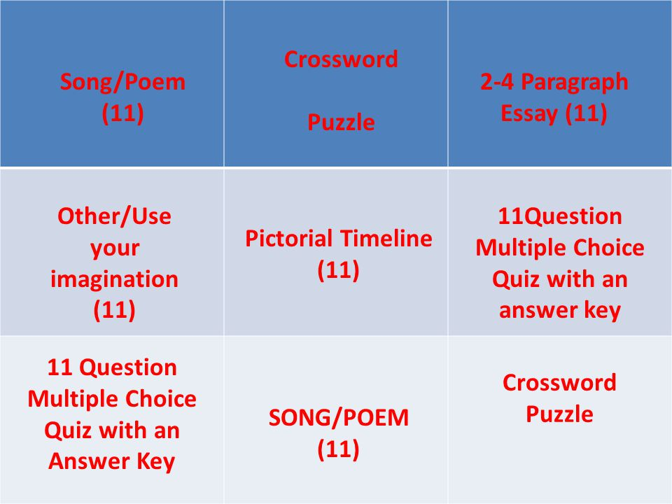 Song/Poem (11) Crossword Puzzle 2-4 Paragraph Essay (11) Pictorial Timeline (11) 11Question Multiple Choice Quiz with an answer key Other/Use your imagination (11) Crossword Puzzle SONG/POEM (11) 11 Question Multiple Choice Quiz with an Answer Key