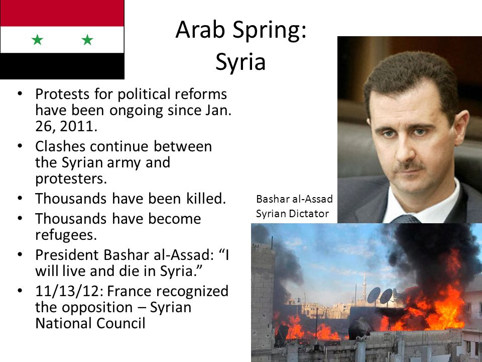 Arab Spring: Syria Protests for political reforms have been ongoing since Jan.