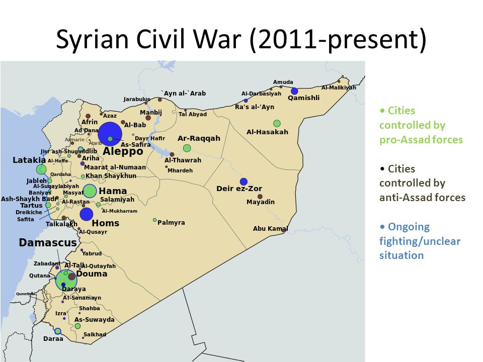 Syrian Civil War (2011-present) Cities controlled by pro-Assad forces Cities controlled by anti-Assad forces Ongoing fighting/unclear situation