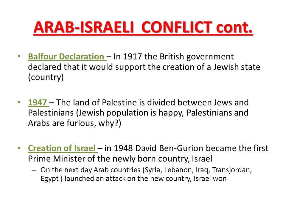 ARAB-ISRAELI CONFLICT cont.
