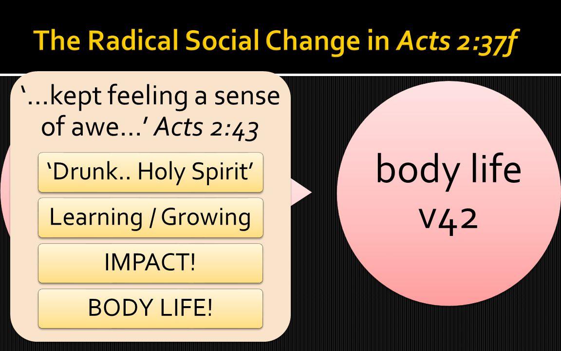 'crooked group' v40 body life v42 '…kept feeling a sense of awe…' Acts 2:43 'Drunk.. Holy Spirit'Learning / GrowingIMPACT!BODY LIFE!
