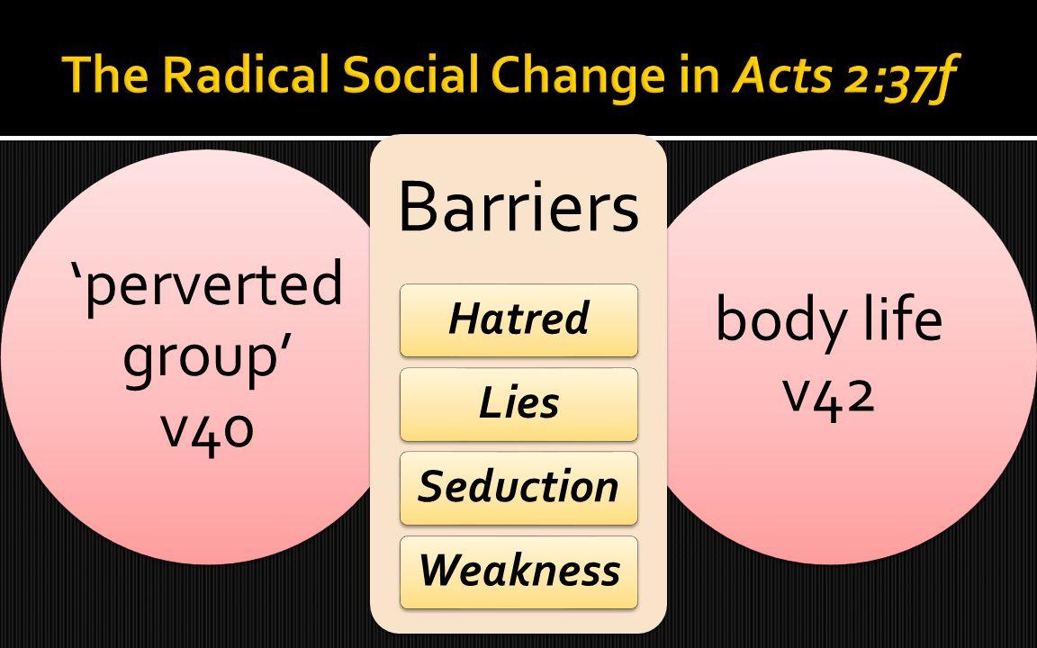 'perverted group' v40 body life v42 Barriers HatredLiesSeductionWeakness