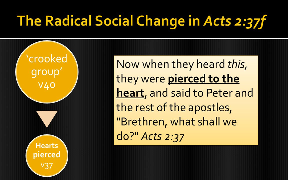 'crooked group' v40 Hearts pierced v37 'think again!' v38 'escape!' v40 'continually devoting' v42 body life v42 Now when they heard this, they were pierced to the heart, and said to Peter and the rest of the apostles, Brethren, what shall we do? Acts 2:37