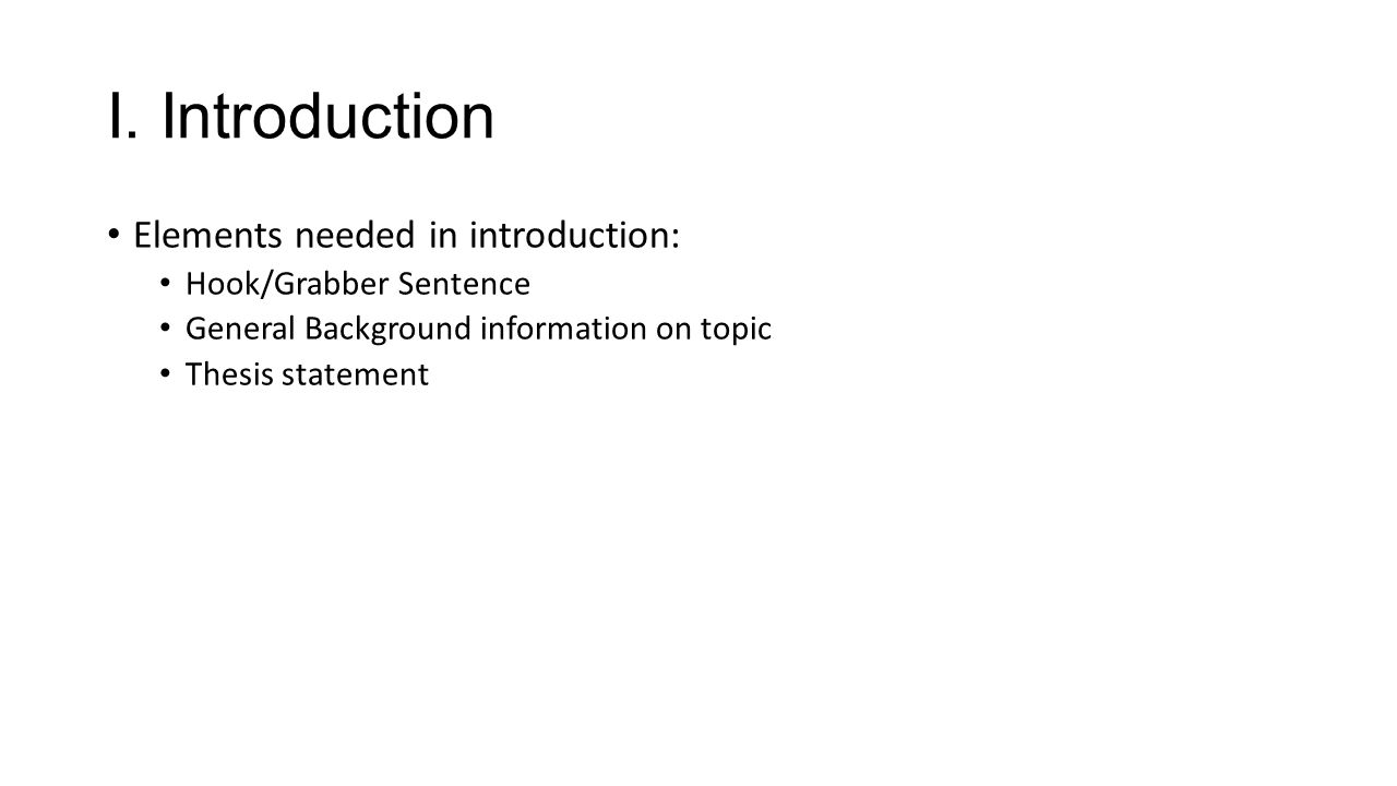 Hook/Grabber need to grab the reader's attention within the first 1-3 lines of your essay.