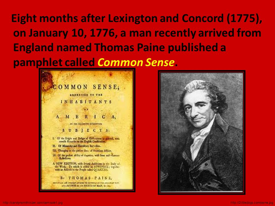  Thomas Paine in Common Sense wrote: I offer nothing more than simple facts, plain arguments, and common sense. ..Colonists did not owe anything to England  In his simple language, Paine wrote the unspoken thoughts of the average colonist  He gave and gave them the courage to accept the radical idea of self-rule.