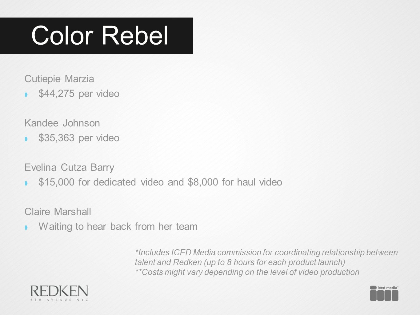 Color Rebel Cutiepie Marzia $44,275 per video Kandee Johnson $35,363 per video Evelina Cutza Barry $15,000 for dedicated video and $8,000 for haul vid