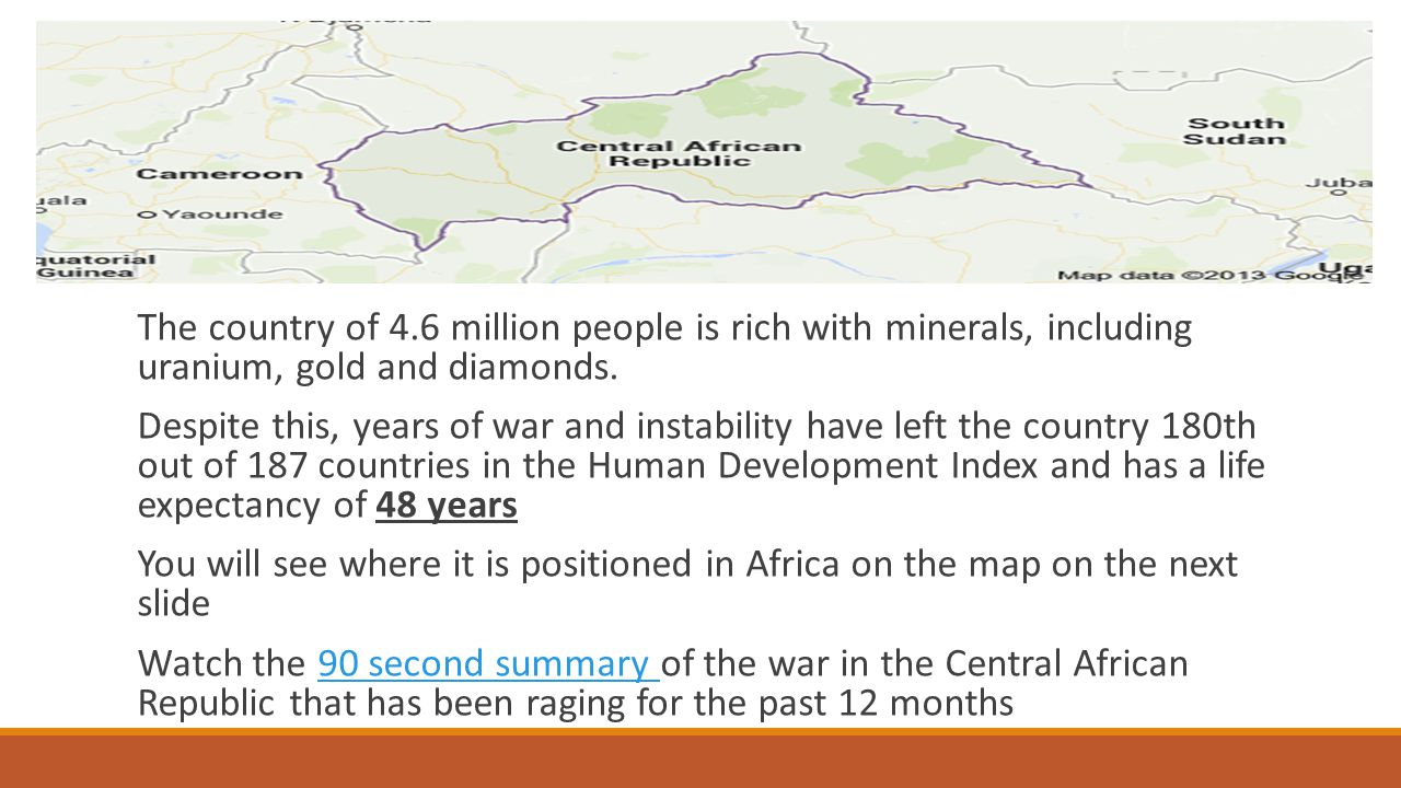 The country of 4.6 million people is rich with minerals, including uranium, gold and diamonds.