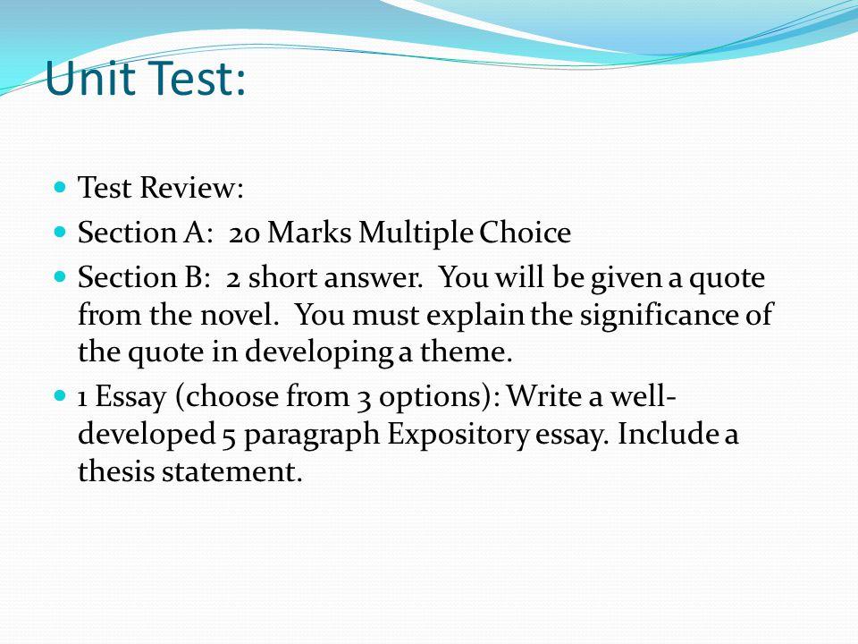 Essay Topics: 1.