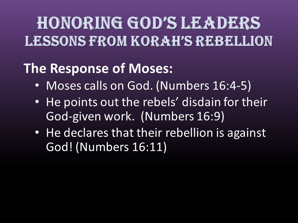 The Response of Moses: Moses calls on God.