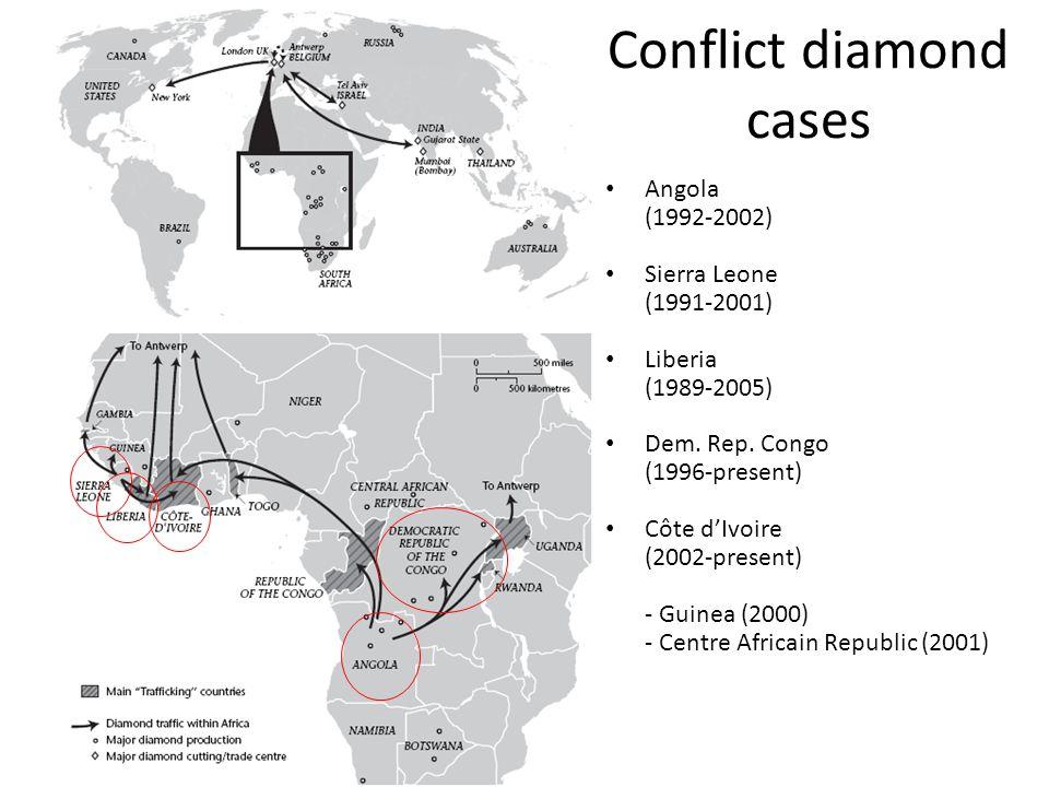 Conflict diamond cases Angola (1992-2002) Sierra Leone (1991-2001) Liberia (1989-2005) Dem. Rep. Congo (1996-present) Côte d'Ivoire (2002-present) - G