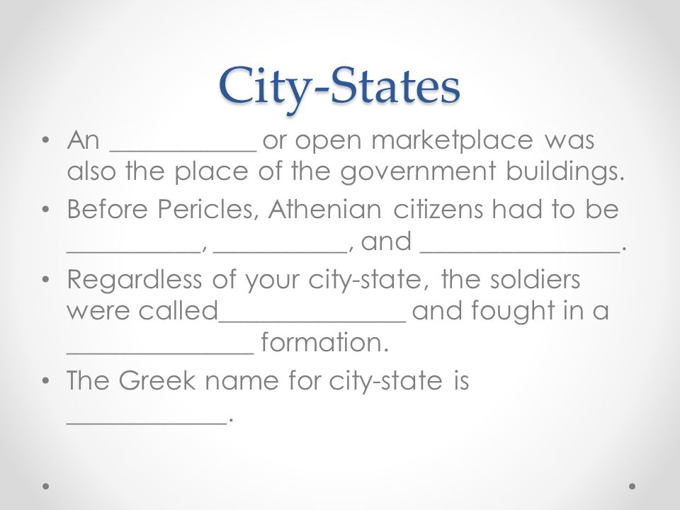 City-States An ___________ or open marketplace was also the place of the government buildings.