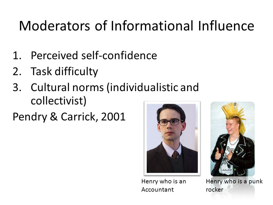 Moderators of Informational Influence 1.Perceived self-confidence 2.Task difficulty 3.Cultural norms (individualistic and collectivist) Pendry & Carri