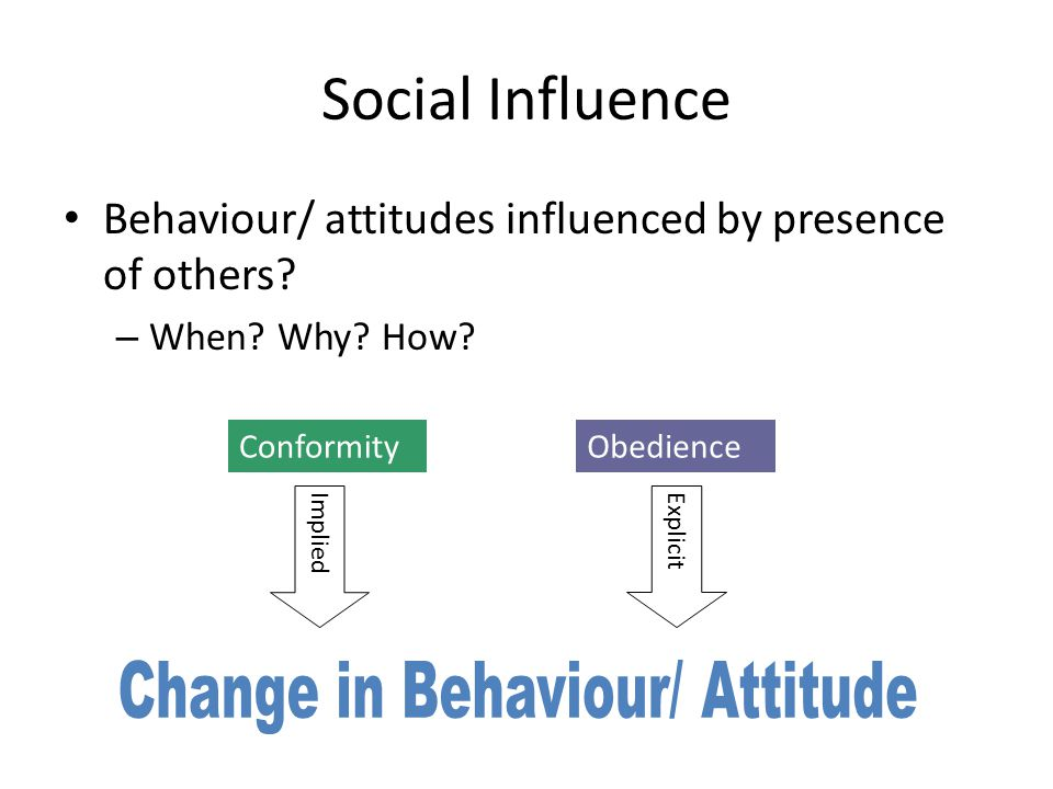 Social Influence Behaviour/ attitudes influenced by presence of others? – When? Why? How? ConformityObedience ImpliedExplicit