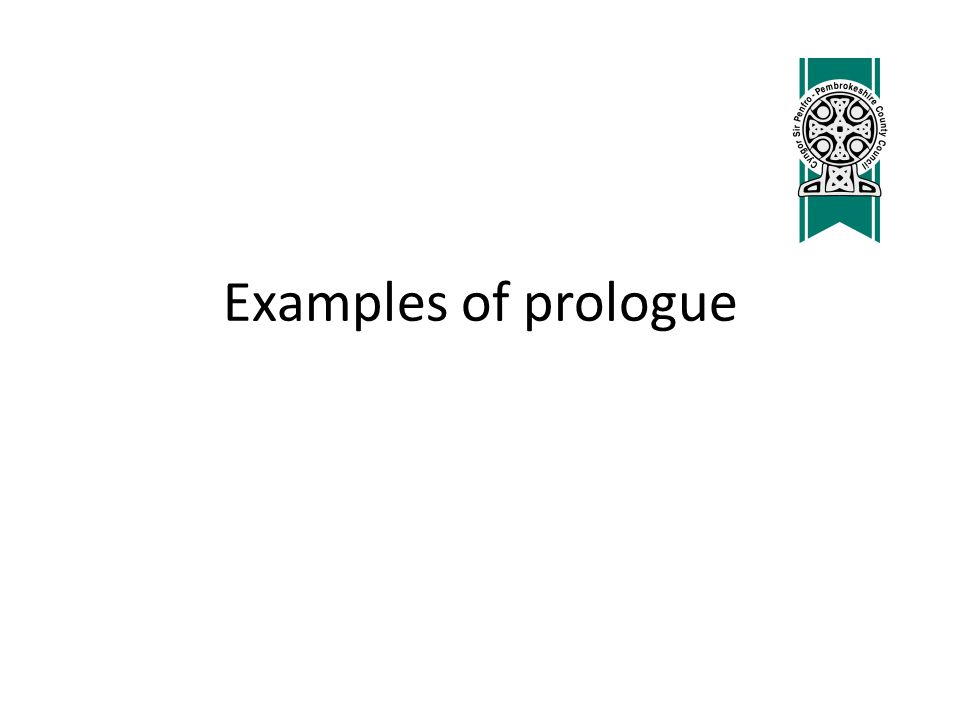 Examples of prologue