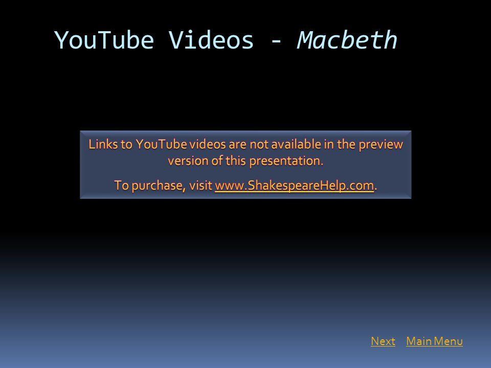 YouTube Videos - Macbeth Main MenuNext