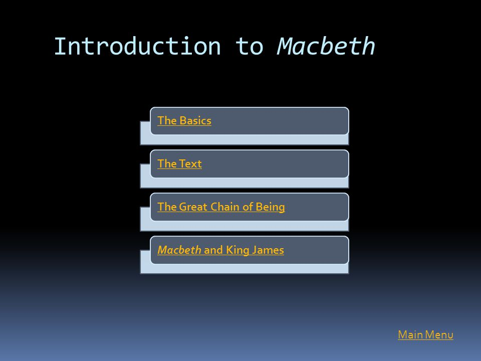 Introduction to Macbeth Main Menu The BasicsThe TextThe Great Chain of BeingMacbeth and King James