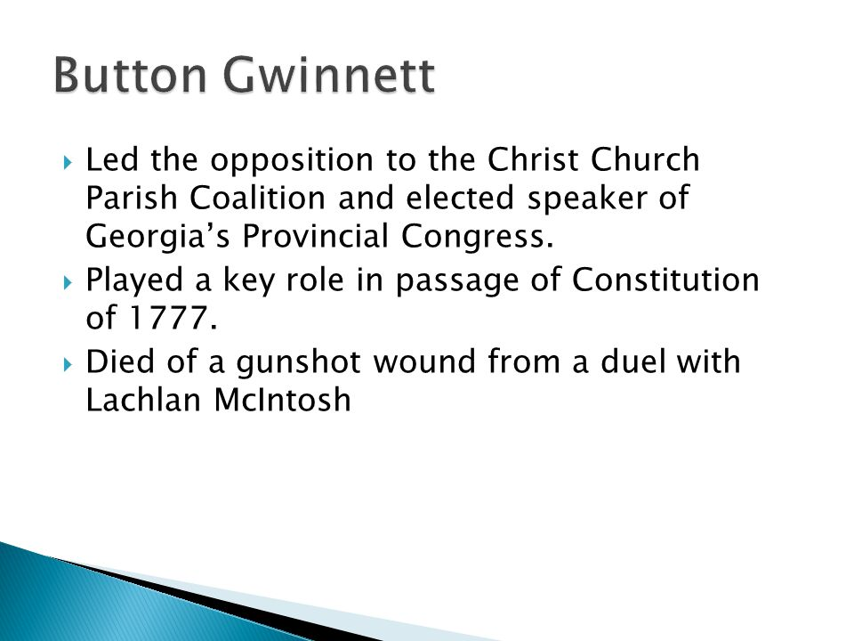  Led the opposition to the Christ Church Parish Coalition and elected speaker of Georgia's Provincial Congress.