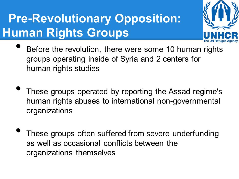 Pre-Revolutionary Opposition: Human Rights Groups Before the revolution, there were some 10 human rights groups operating inside of Syria and 2 centers for human rights studies These groups operated by reporting the Assad regime s human rights abuses to international non-governmental organizations These groups often suffered from severe underfunding as well as occasional conflicts between the organizations themselves