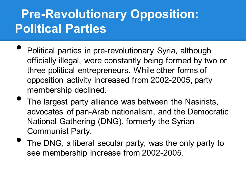 Pre-Revolutionary Opposition: Political Parties Political parties in pre-revolutionary Syria, although officially illegal, were constantly being formed by two or three political entrepreneurs.