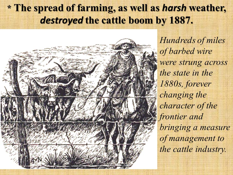 * The spread of farming, as well as harsh weather, destroyed the cattle boom by 1887.