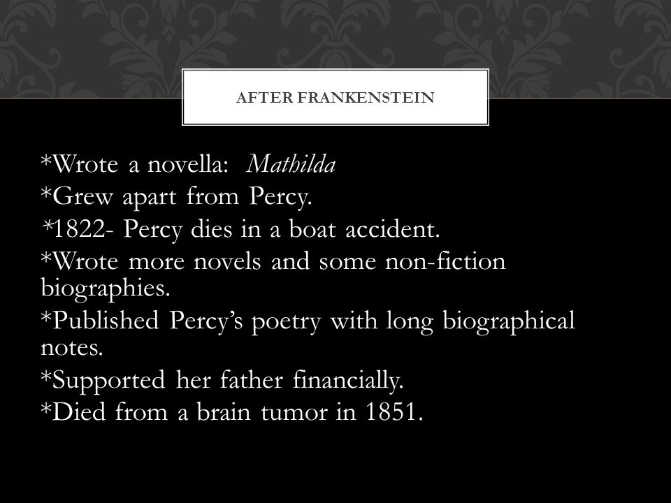 *Wrote a novella: Mathilda *Grew apart from Percy.
