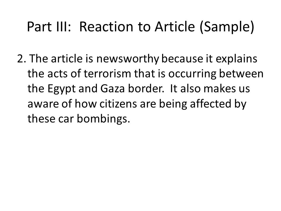 Part III: Reaction to Article (Sample) 2.