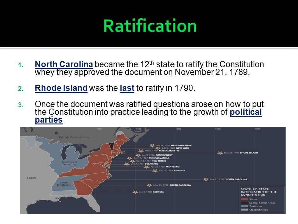 1. North Carolina became the 12 th state to ratify the Constitution whey they approved the document on November 21, 1789. 2. Rhode Island was the last