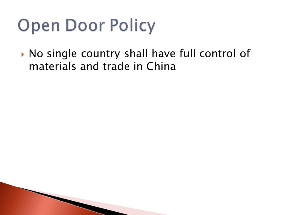  No single country shall have full control of materials and trade in China