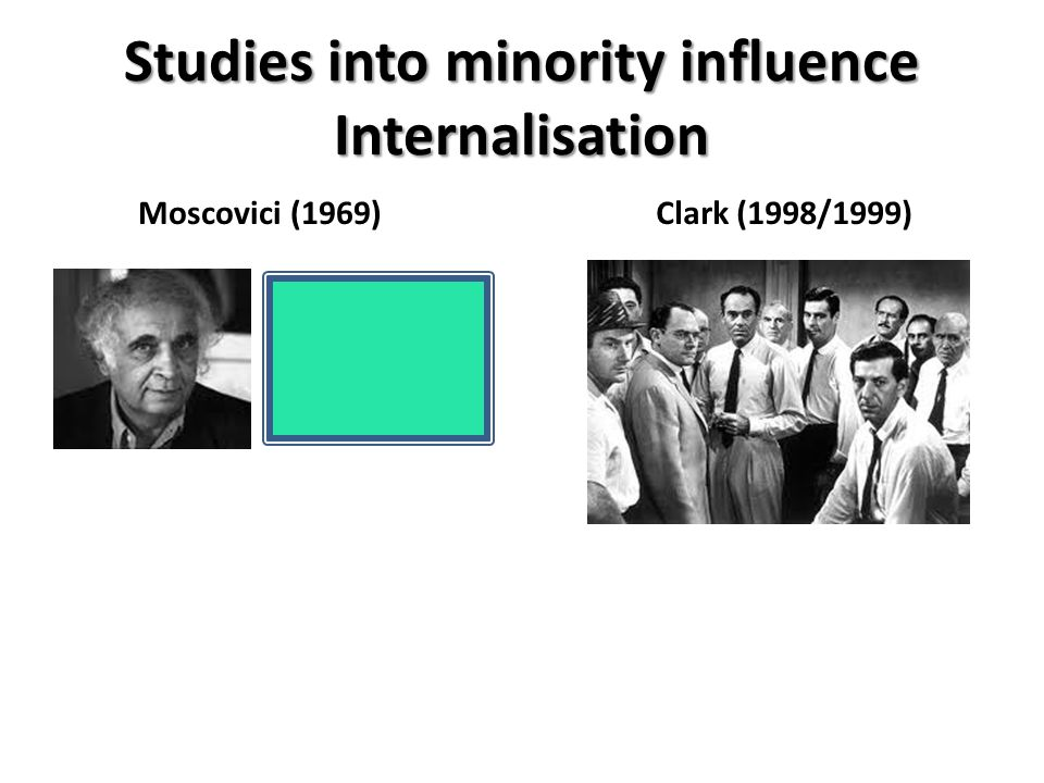 Studies into minority influence Internalisation Moscovici (1969)Clark (1998/1999)